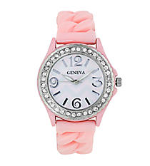 Baby Pink and White Chevron Braided Jelly Watch with Crystal Surround #7827-BPK