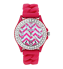 Hot Pink and White Chevron Braided Jelly Watch with Crystal Surround #7827-HPK