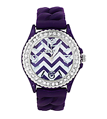 Purple and White Chevron Braided Jelly Watch with Crystal Surround #7827-PUR