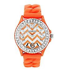Orange and White Chevron Braided Jelly Watch with Crystal Surround #7827-OR