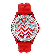 Red and White Chevron Braided Jelly Watch with Crystal Surround #7827-RD