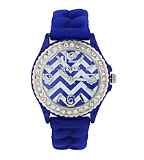 Royal Blue and White Chevron Braided Jelly Watch with Crystal Surround #7827-ROY