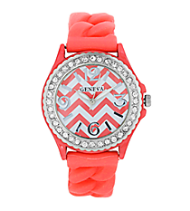 Salmon and White Chevron Braided Jelly Watch with Crystal Surround #7827-SAL