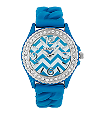 Turquoise and White Chevron Braided Jelly Watch with Crystal Surround #7827-TQ