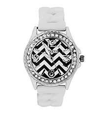 White Chevron Braided Jelly Watch with Crystal Surround #7827-WH