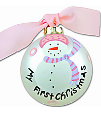 "4.5"" Girl's ""My First Christmas"" Glass Keepsake Ornament with Gift Box #CHILD-303"