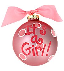 "4.5"" ""It's A Girl!"" Glass Keepsake Ornament with Gift Box #CHILD-GIRL"