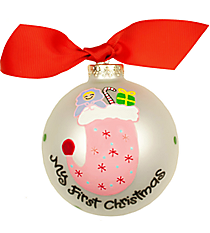 "4.5"" Girl's Stocking ""My First Christmas"" Glass Keepsake Ornament with Gift Box #CHILD-STOK-G"