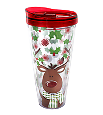 Reindeer 22 oz. Double Wall Tumbler with Straw #F126318