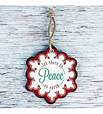 Peace Wooden Snowflake Ornament #CHR001