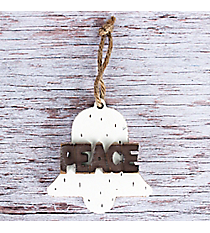 Wooden 'Peace' Bell Ornament #CHR005