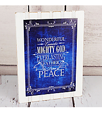 Whitewashed and Blue 'Mighty God' Wall Hanging #CHR042