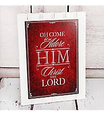 Whitewashed and Red 'Oh Come Let Us Adore Him' Wall Hanging #CHR044