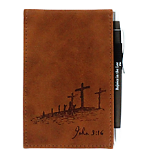 John 3:16 Brown LuxLeather Pocket Notepad #NBP021