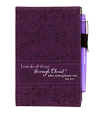 Philippians 4:13 Purple LuxLeather Pocket Notepad #NBP022