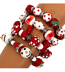 One Christmas Art Glass Beaded Bracelet #81384 *Choose Your Style