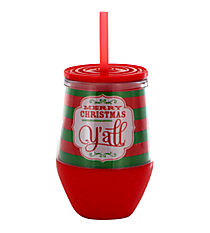 """Merry Christmas Y'all"" 10 oz. Double Wall Stemless Wine Glass with Straw #F133863"