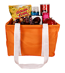Orange and White Collapsible Square Utility Tote #HCOL402-OR/WH