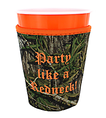 "Mossy Oak® and Orange Trim ""Party Like a Redneck"" Cup Cozy #CCOZ-MOO-RED"