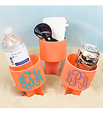 3 Initial Monogram Coral Spiker Beach Beverage Holder #1272-CORAL