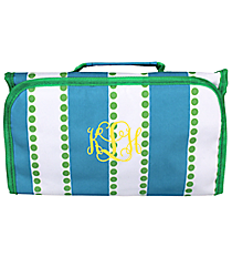 Blue and White Stripes with Green Dots Roll Up Cosmetic Bag #CB-1328