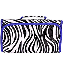 Zebra with Blue Trim Roll Up Cosmetic Bag #CB-2006-B