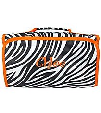 Zebra with Orange Trim Roll Up Cosmetic Bag #CB-2006-O
