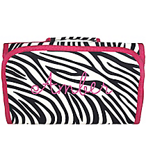 Zebra with Pink Trim Roll Up Cosmetic Bag #CB-2006-P