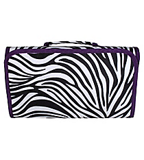 Zebra with Purple Trim Roll Up Cosmetic Bag #CB-2006-PU