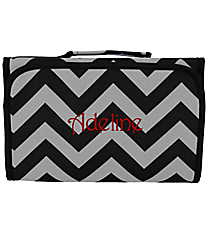Black and Gray Chevron Clear-View Roll Up Cosmetic Bag #CB18-1324