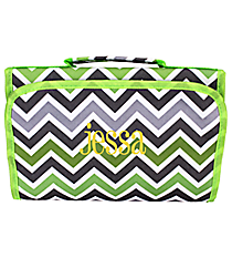 Green and Gray Chevron Clear-View Roll Up Cosmetic Bag #CB18-1326