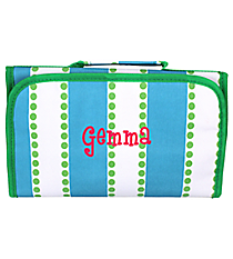 Blue and White Stripes with Green Dots Clear-View Roll Up Cosmetic Bag #CB18-1328