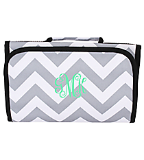 Gray and White Chevron Clear-View Roll Up Cosmetic Bag #CB18-1325