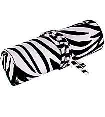 "Zebra Print and Green 8"" Travel Cosmetic Bag #HY008-2006-G"