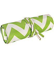 "Light Green Chevron 8"" Travel Cosmetic Bag #HY008-601-LG"