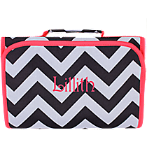 Black and Gray Chevron with Pink Trim Clear-View Roll Up Cosmetic Bag #CB18-1324-P