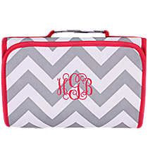 Gray and White Chevron with Pink Trim Clear-View Roll Up Cosmetic Bag #CB18-1325-P