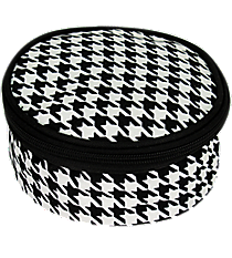 """6"""" Houndstooth with Black Trim Round Case #HE583-BLACK"""