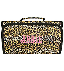 Leopard with Black Trim Roll Up Cosmetic Bag #CB-2008