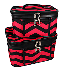 2 Piece Black and Fuchsia Chevron Cosmetic Case Set #PBC02-165-B/F