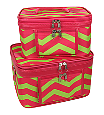 2 Piece Fuchsia and Lime Green Chevron Cosmetic Case Set #PBC02-165-F/G