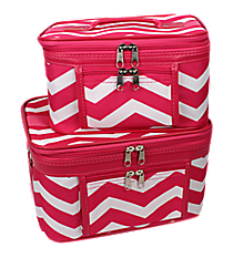2 Piece Fuchsia and White Chevron Cosmetic Case Set #PBC02-165-F/W