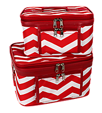 2 Piece Red and White Chevron Cosmetic Case Set #PBC02-165-R/W