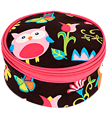 "6"" Owl Give a Hoot with Hot Pink Trim Round Case #WQL583-HPINK"
