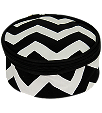 "6"" Black Chevron with Black Trim Round Case #ZIB583-BLACK"