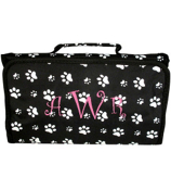 Black with White Paw Prints Roll Up Cosmetic Bag #CB01-587-B/W