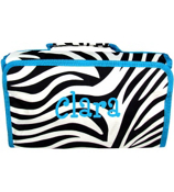 Zebra with Turquoise Trim Roll Up Cosmetic Bag #CB01-163-T