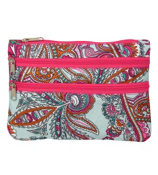 Blue Electric Paisley with Pink Trim Travel Pouch #CB2-2933-4
