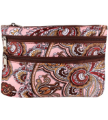 Pink Electric Paisley with Brown Trim Travel Pouch #CB2-1302