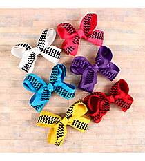 One Solid and Black Chevron Double Bow Hair Clippy #CPA9930-SHIPS ASSORTED